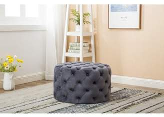 Best Quality Furniture Round Tufted Ottoman Gray or Blue Color