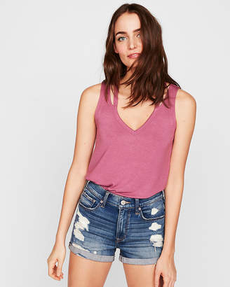 Express One Eleven Double Slash Neck Tank