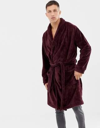 Asos DESIGN fluffy robe in burgundy