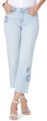 NYDJ Jenna Floral Applique Raw Edge Crop Jeans
