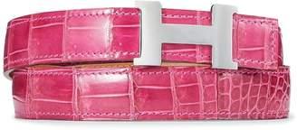 Hermes Palladium Constance Mini Belt Buckle & Rose Scheherazade Crocodile Reversible Strap 75cm