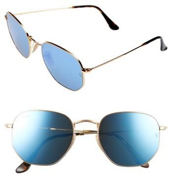 Women's Ray-Ban 54Mm Hexagonal Flat Lens Sunglasses - Gold/ Blue