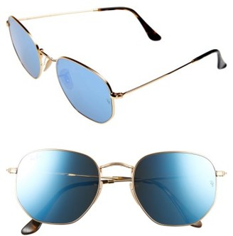 Women's Ray-Ban 54Mm Hexagonal Flat Lens Sunglasses - Gold/ Blue $175 thestylecure.com