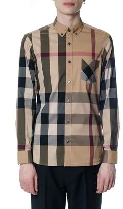 Burberry Camel Cotton Shirt With Check Print