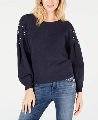 INC International Concepts I.n.c. Embellished Balloon-Sleeve Sweater