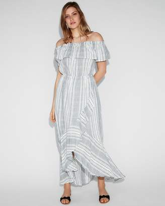 Express Plaid Ruffle Off The Shoulder Cotton Maxi Dress