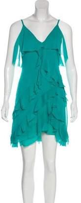 Alice + Olivia Ruffle-Accented Sleeveless Mini Dress