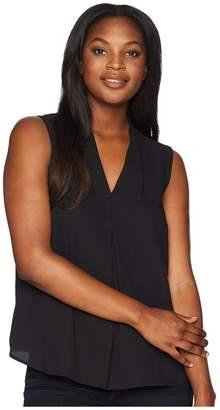 Nine West Sleeveless V-Neck Blouse with Inverted Pront Pleat Women's Blouse