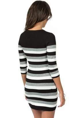 Teeze Me Juniors 3/4 Sleeve Round Neck Striped Sweater Dress