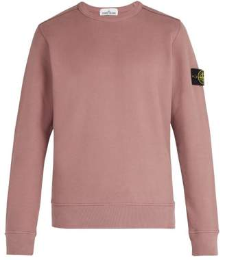Stone Island Logo Patch Cotton Jersey Sweatshirt - Mens - Light Pink