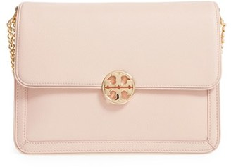 Tory Burch Large Duet Leather Shoulder Bag - Pink $525 thestylecure.com