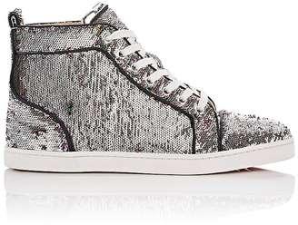 Christian Louboutin Women's Bip Bip Woman Orlato Flat Paillette Sneakers $995 thestylecure.com