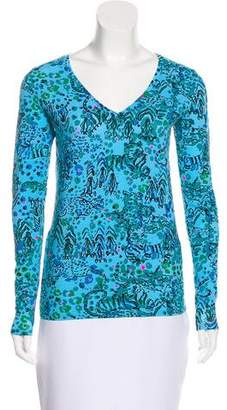 Lilly Pulitzer Printed V-Neck Long Sleeve Top