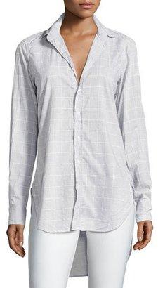 Frank & Eileen Grayson Grid-Print Italian Chambray Shirt, Gray $238 thestylecure.com