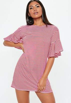 Missguided Red Frill Sleeve Stripe T-Shirt Dress