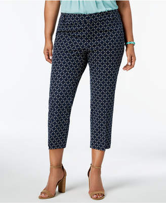 Charter Club Plus Size Geometric-Print Cropped Pants