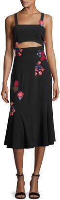Tanya Taylor Olivia Sleeveless Floral-Embroidered Crepe Midi Dress