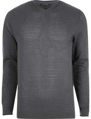 River Island Mens Grey textured knit V neck slim fit sweater