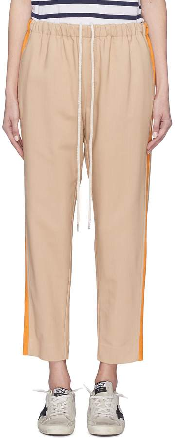 Stripe outseam slim fit drawstring suiting pants