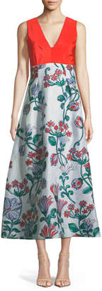 Lela Rose V-Neck Sleeveless A-Line Fil-Couple Dress with Drawn Floral Jacquard