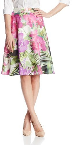 Trina Turk Women's Marvella Hot House Floral Flared Skirt