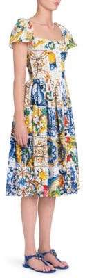 Dolce & Gabbana Maiolica Print Eyelet Cotton Poplin Dress