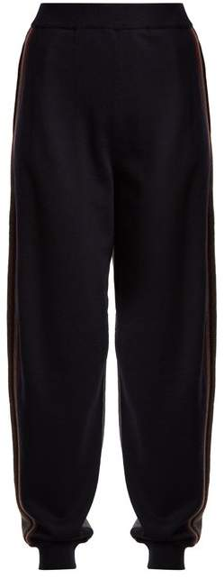 Contrast-panel wool track pants