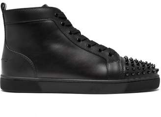 1d3131b3988 Christian Louboutin Lou Spike Embellished Leather High Top Trainers - Mens  - Black