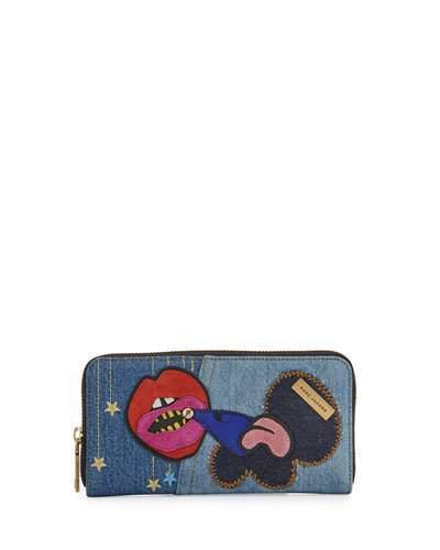 Marc JacobsMarc Jacobs Denim Patches Continental Wallet, Blue/Multi