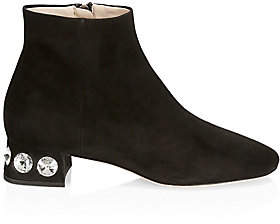 Miu Miu Women's Rocchetto Studded Heel Suede Ankle Boots
