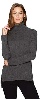 Lark & Ro Women's 100% Cashmere Soft Slouchy Turtleneck Pullover Sweater