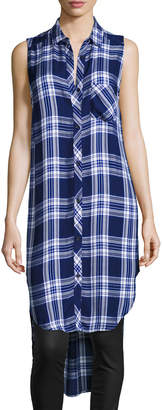 Rails Jordyn Plaid Sleeveless High-Low Tunic, Midnight Cobalt
