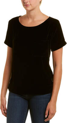 Three Dots Velvet Silk-Blend T-Shirt