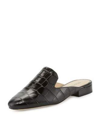 MICHAEL Michael Kors Natasha Crocodile-Embossed Slide Loafer, Black $135 thestylecure.com