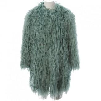 Philosophy di Alberta Ferretti Green Mongolian Lamb Coats