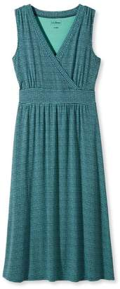 L.L. Bean L.L.Bean Summer Knit Dress, Sleeveless Printed Grid