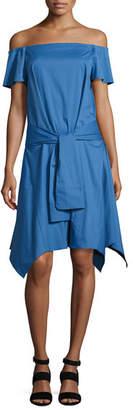 Halston Off-the-Shoulder Handkerchief-Hem Dress w/ Tie, Coastal Blue
