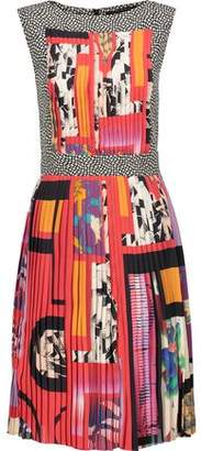 Etro Printed Plissé-Crepe De Chine Dress