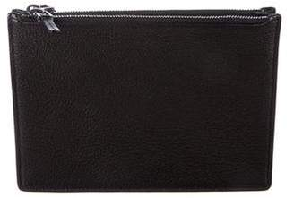 Helmut Lang Grained and Smooth Leather Clutch