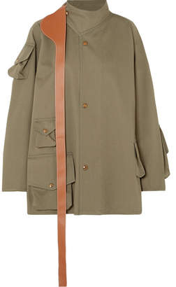 Loewe Oversized Leather-trimmed Cotton Jacket - Army green