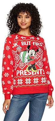 Disney Women's Minnie Presents Christmas Sweater