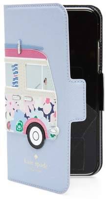 Kate Spade surf van iPhone X leather folio case