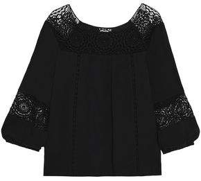 Joie Bellange Crochet-Paneled Crepe Blouse