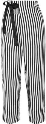 J.Crew Okinawa Striped Wide-leg Silk-twill Wrap Pants - Black