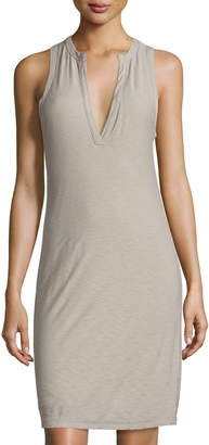 James Perse Henley Tank Dress, Gray Shadow