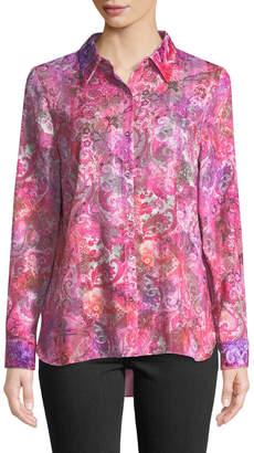 T Tahari Josella Floral Snap-Front Blouse