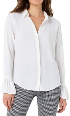 Liverpool Pleated cuff, long sleeve blouse