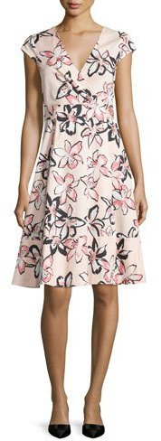 Kate Spade Kate Spade New York Cap-Sleeve Floral-Print Wrap Dress, Antilles Bubbles