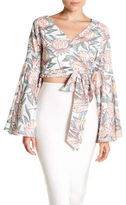Gracia Floral Bell Sleeve Tie Front Top