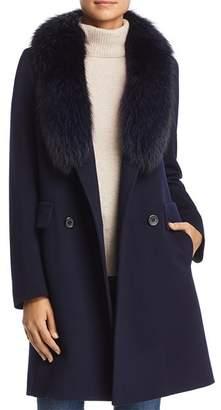 Maximilian Furs Fleurette Fur Trim Double-Breasted Front Wool Coat